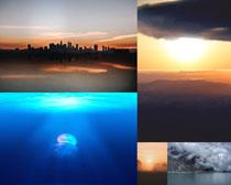 夕陽天空海底生物攝影高清圖片