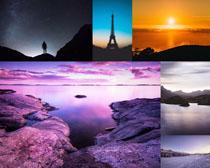 夕陽大海人字塔風景攝影高清圖片