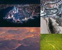城市夜景與山峰攝影高清圖片