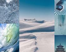 雪景與大海風景攝影高清圖片