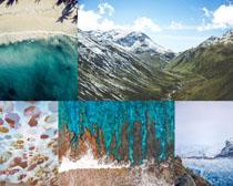 大海風浪沙灘風景拍攝高清圖片