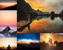 夕陽自然風景風光攝影高清圖片