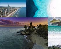 大海城市風光拍攝高清圖片