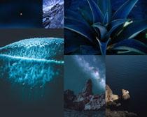 蓝色夜色大海风景拍摄高清图片