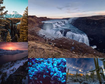 森林山峰瀑布風景拍攝高清圖片