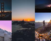 海邊山峰橋梁攝影高清圖片