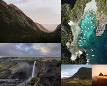 山峰景色瀑布攝影高清圖片