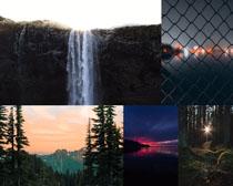 树林山峰瀑布景色摄影高清图片