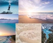 天空大海沙灘風景攝影高清圖片