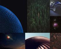 树林汽车夜景摄影高清图片