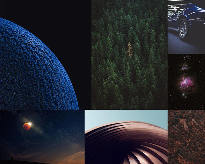 樹林汽車夜景攝影高清圖片