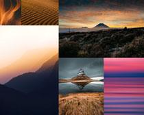 夕阳湖泊美丽风光摄影高清图片