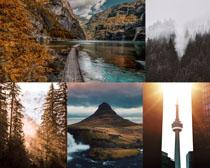 小溪树木湖泊摄影高清图片