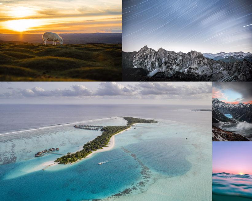 海島山峰日出風景攝影高清圖片
