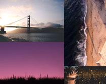 大海天空橋梁風景攝影高清圖片