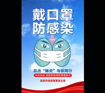 戴口罩防感染展板海宣传PSD素材