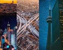 環形橋梁與大廈建筑攝影高清圖片