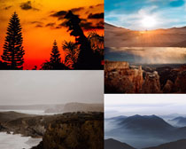 夕陽天空山峰景觀攝影高清圖片