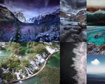 森林雪景大海風景攝影高清圖片