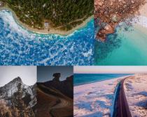 島嶼道路山峰攝影高清圖片