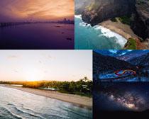 大海沙灘森林風景拍攝高清圖片