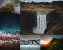高山瀑布風光拍攝高清圖片