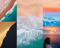 大海沙灘美麗風景拍攝高清圖片