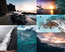海灘橋梁風景拍攝高清圖片