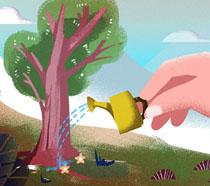 卡通绘画植树节插画PSD素材