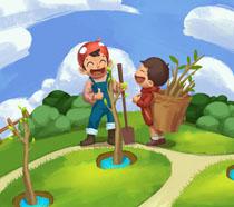 开心儿童植树插画PSD素材