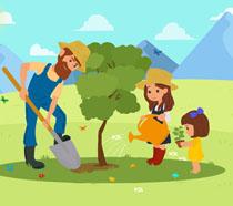 卡通人物植树造林插画PSD素材