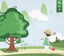 绿化环境卡通植树节PSD素材