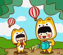 卡通人物植树节绘画PSD素材