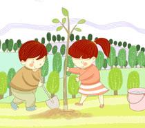 种下希望卡通植树节PSD素材