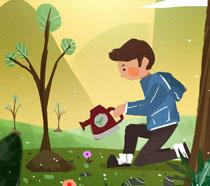 卡通小男孩爱护环境植树插画PSD素材