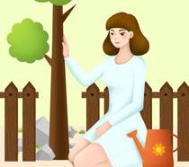 关爱植树节插画PSD素材