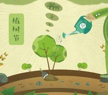 绿色植树节公益插画PSD素材