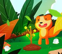 森林动物植树节插画PSD素材