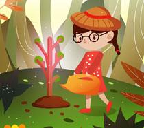 卡通绘画女孩植树节插画PSD素材