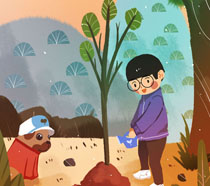 卡通男孩与狗狗植树节PSD素材