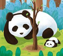 大熊猫植树节PSD素材