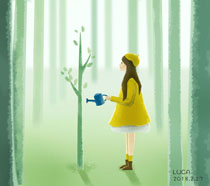 小树苗与女孩植树节PSD素材