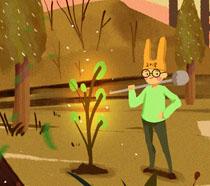 卡通植树小男孩插画PSD素材