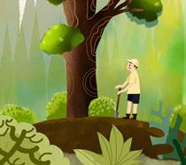 森林大树植树节PSD素材