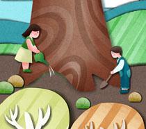 浇水的儿童植树节PSD素材