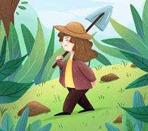 快乐植树节卡通插画PSD素材