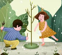 快乐儿童植树节插画PSD素材