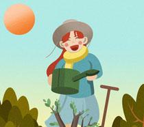 卡通小女孩植树节插画PSD素材