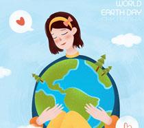 女孩与地球环保插画PSD素材