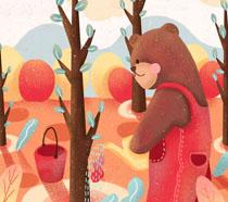 卡通绘画森林植树节PSD素材